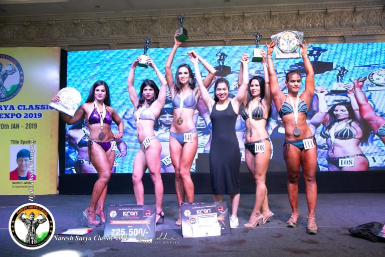 women athelets and winners of womens bodybuilding at naresh surya classic fitness expo 2019