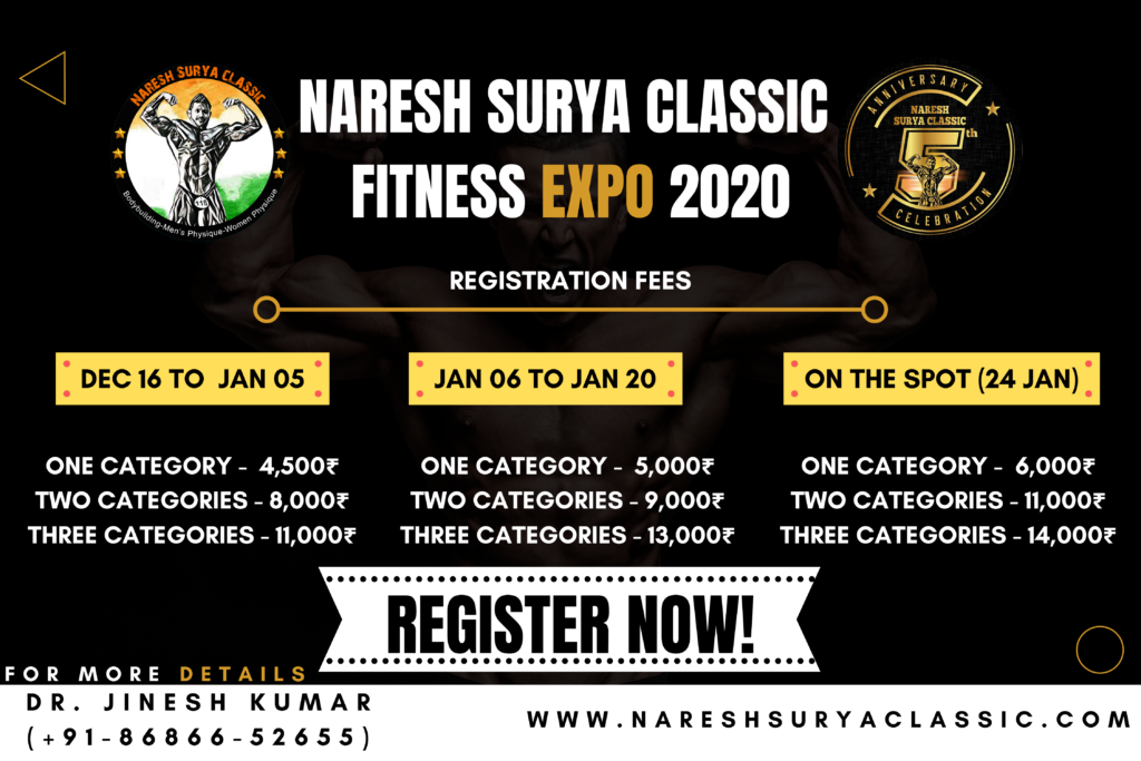registration fees naresh surya classic fitness expo 2020, register now
